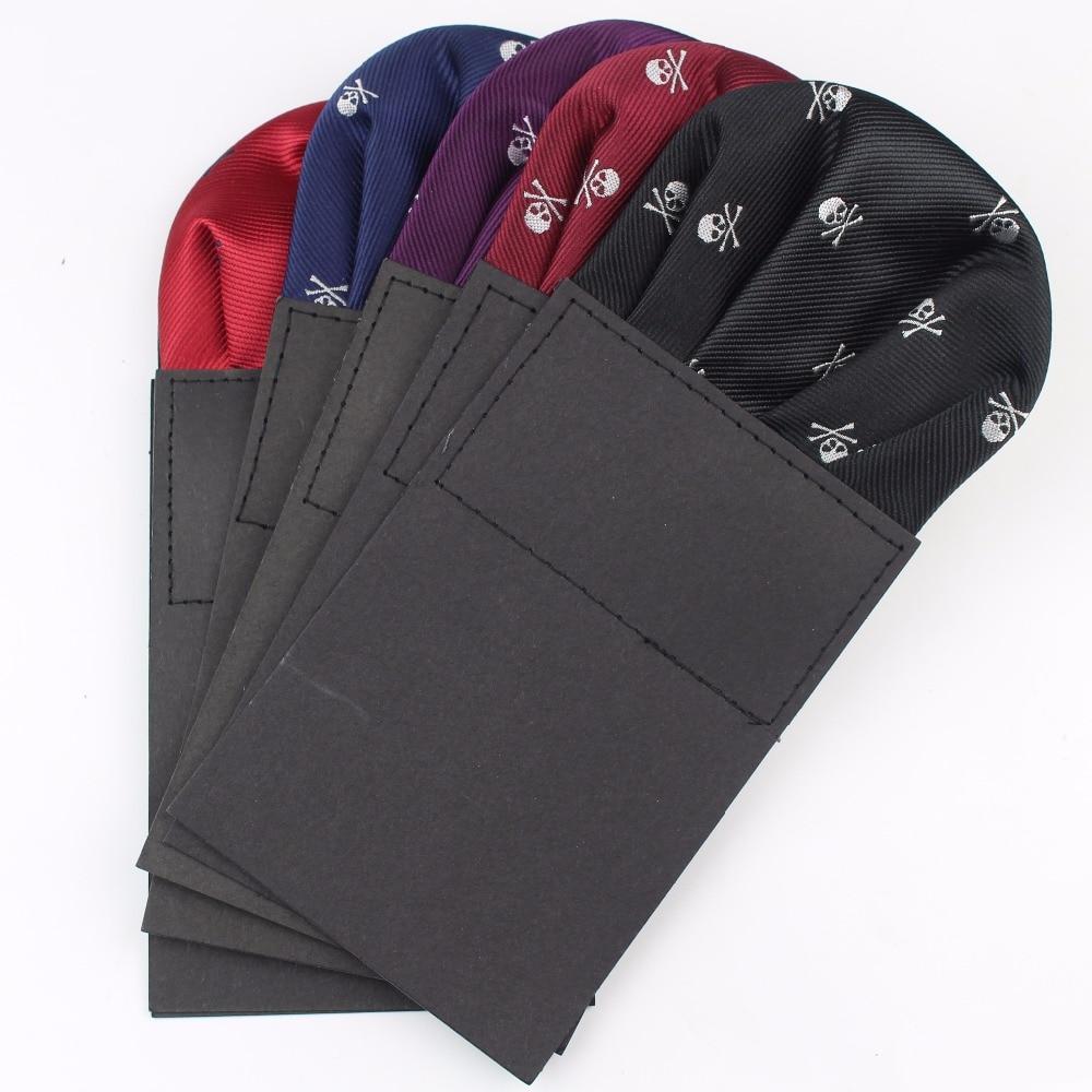 Men Suits Polyester Designer Handkerchiefs Skull Printing Pocket Square Hankies Halloween Horrific Casual Square Pockets Hanky