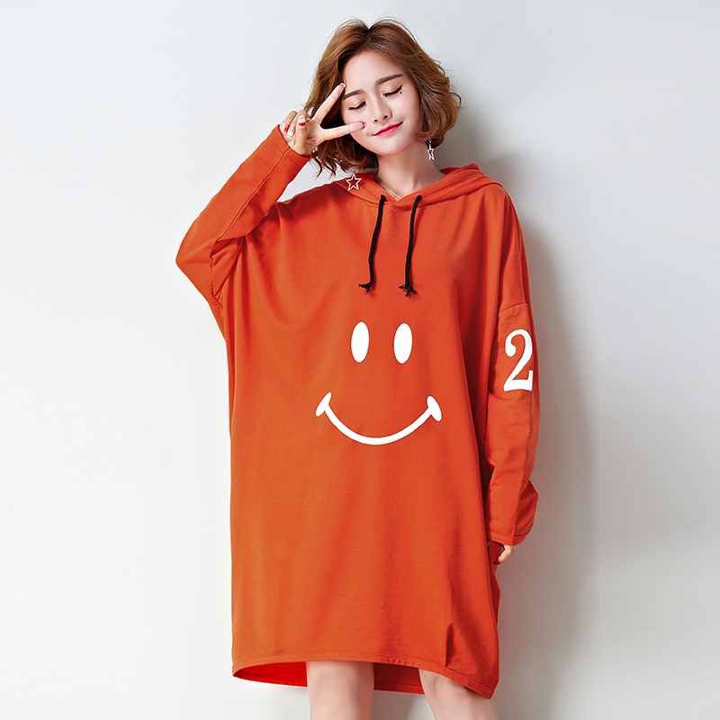 146d126eae6 Dresses of the big sizes t shirt dress women plus size large tshirt dress  orange hooded. US  22.11. 2018 Autumn Winter ...