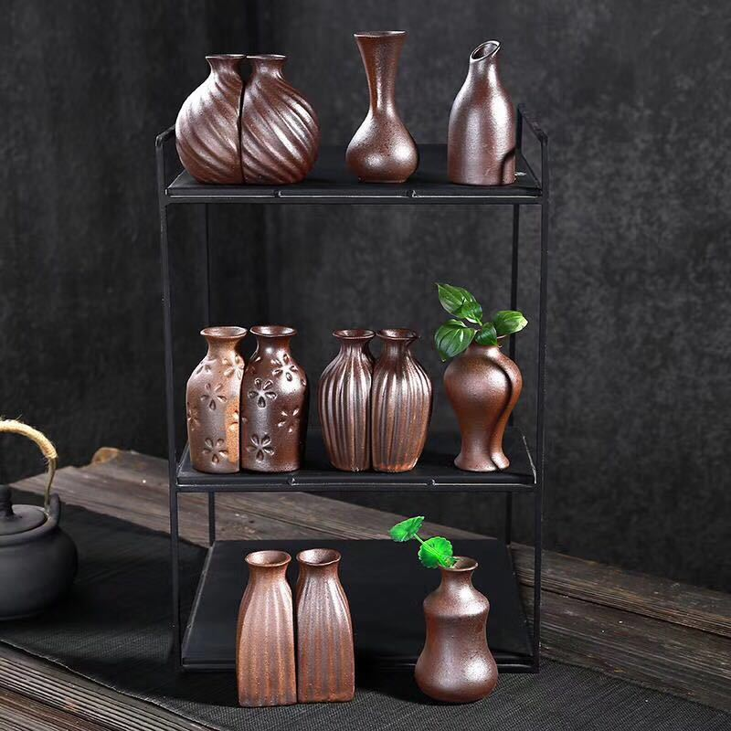 Classic Coffe Ceramic Vase Chinese Arts And Crafts Decor Contracted Porcelain Flower Vase Creative Household Decoration Bottlers