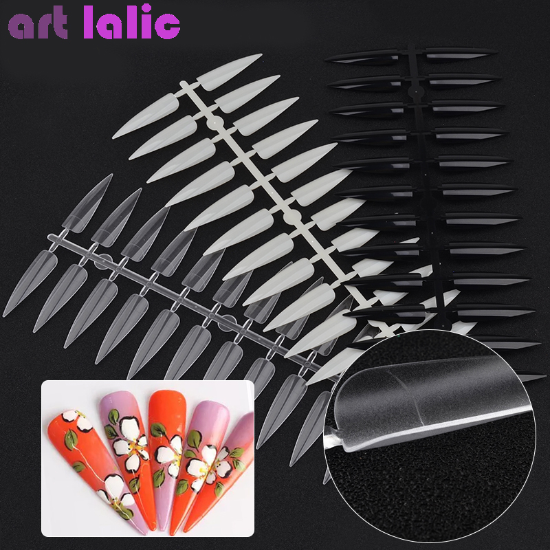 Nails Tips Salon Manicure Clear Sharp-End-Stiletto Artificial-Nails False-Fake Full-Cover