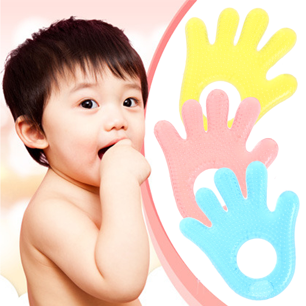 Water Filled Safety Baby Teethes Cartoon Creative Hand Shape Bite Stick Plam Shape Food Safe EVA Baby Teethers For Children