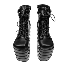 Womens Gothic High Wedge High Heels Super Platform Shoes For Woman Lace Up Ankle Boots Shoes Pumps Size Black White Color