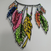 2pc/lot indian feather sequins patches for clothing 21*25cm Embroidery sequin patch clothes Sewing applique parches