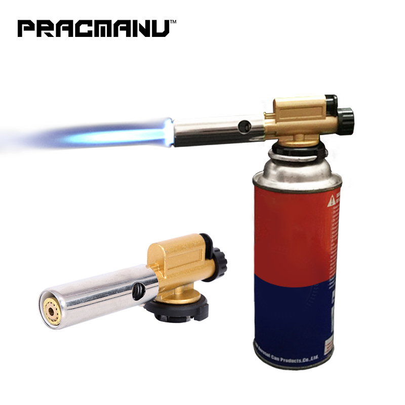 PRACMANU Electronic Ignition Copper Flame Butan Gas Burner Gun Maker Torch For Outdoor Camping Picnic BBQ