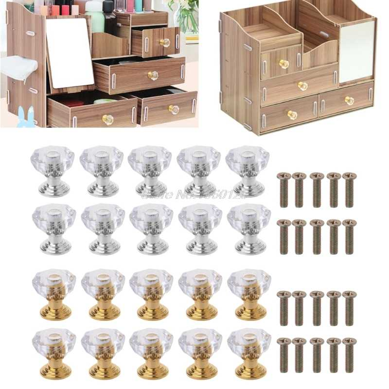 10PC Diamond Shape Crystal Glass Cabinet Knob Drawer Pull Handle For Jewelry Box June 05 DropShip