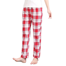 Summer Sexy red Plaid 100% cotton womens lounge pants Plus size sleep
