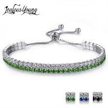 Ünlü marka İki satır zirkonya ayarlanabilir bilezikler kadınlar için yuvarlak kristal dostluk bilezik hediyeler