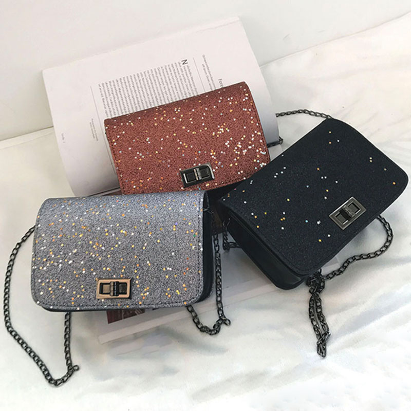 1 Pcs Women Shoulder Crossbody Bag Sequin Chain Fashion For Mobile Phone Party Popular
