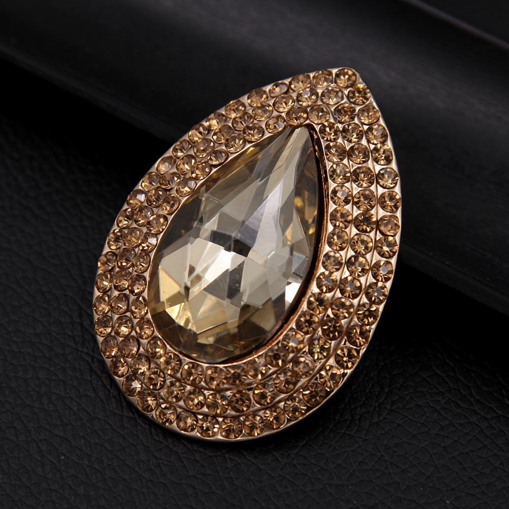 Luksusowa broszka z kryształem górskim i łezką, metalowa, - Modna biżuteria - Zdjęcie 5