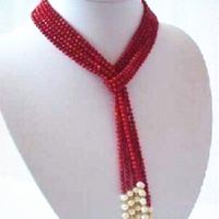 Hot Free Shipping New 2014 Fashion Style Diy 5MM Charming Red Coral White Pearl Scarf Necklace