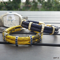 Sports Club Gift Navy Blue&Yellow Genuine Python Leather Bracelet With Silver Buckle High Grade 925 Sterling Silver Jewelry