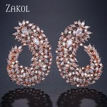 ZAKOL Famous Design Luxury Popular Geometry Flower Full Mirco Paved Cubic Zirconia Wedding Earrings Fashion Jewelry FSEP2135