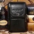 Genuíno Couro De Couro dos homens Do Vintage Viajar Celular/Mobile Phone Case Capa Belt Hip Bum Bolsa Gancho Bolsa Fanny Pacote de Cintura Dos Homens saco