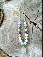 N15112309 Clear Quartz Arrowhead Pendant on  Amazonite Beads and Blue Rosary Chain Necklace