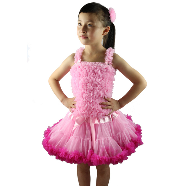 2pcs Fashion Baby Girl Kids Summer Clothes Girls Pettiskirt Tutu Skirt Set Chiffon Petti Top Princess Birthday Set 1-10 Ys