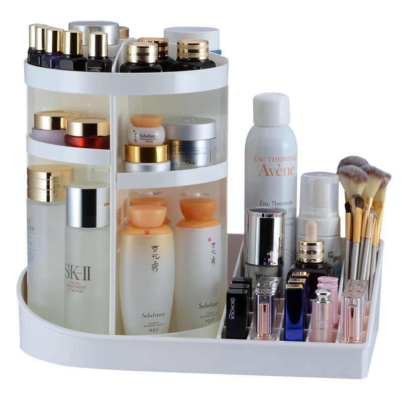 Transparent White Black Lipstick Cosmetic Storage Box Rotating Rack Simple Washb