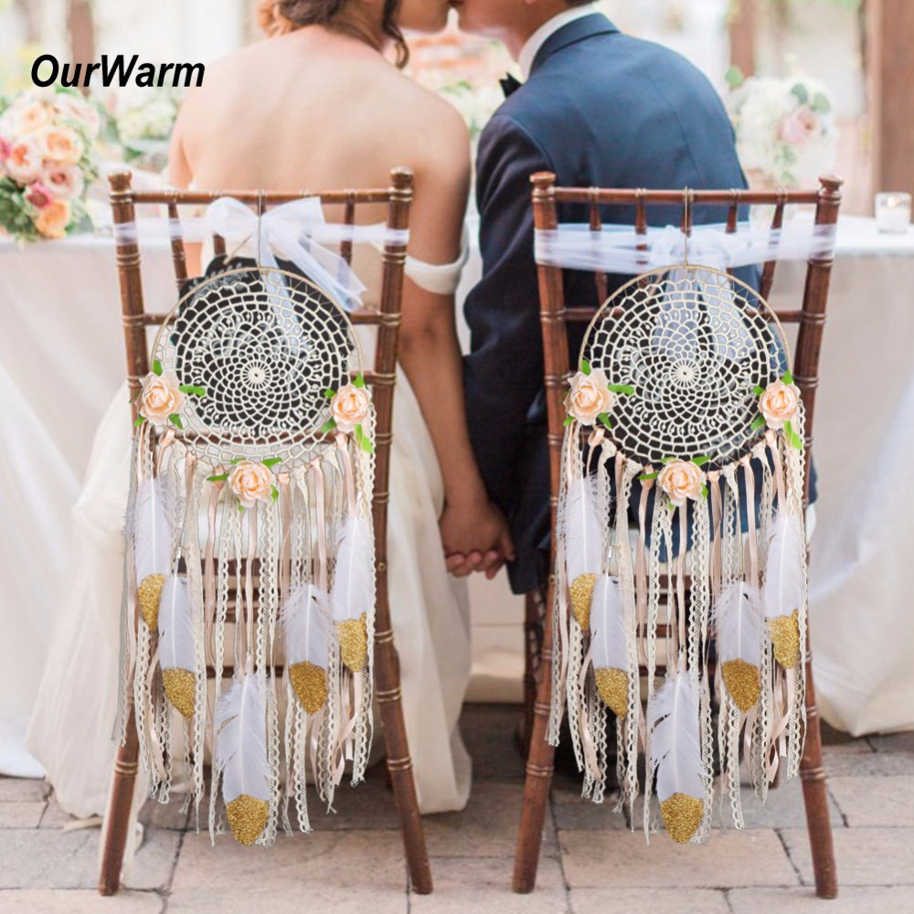 OurWarm 2Pcs Handmade Dream Catcher with Feathers Wall Hanging Decoration Crafts Ornament Dreamcatcher Wedding Party Accessories