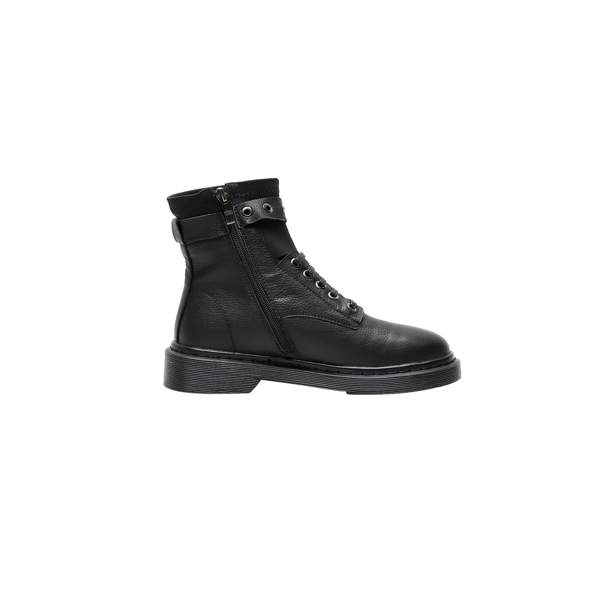 QUTAA 2020 Runde Kappe Schnalle Plattform Casual Stiefeletten Niedrigen Ferse Echtem Leder Spitze Up Zipper Fashion Frauen Schuhe Größe 34 42-in Knöchel-Boots aus Schuhe bei  Gruppe 2