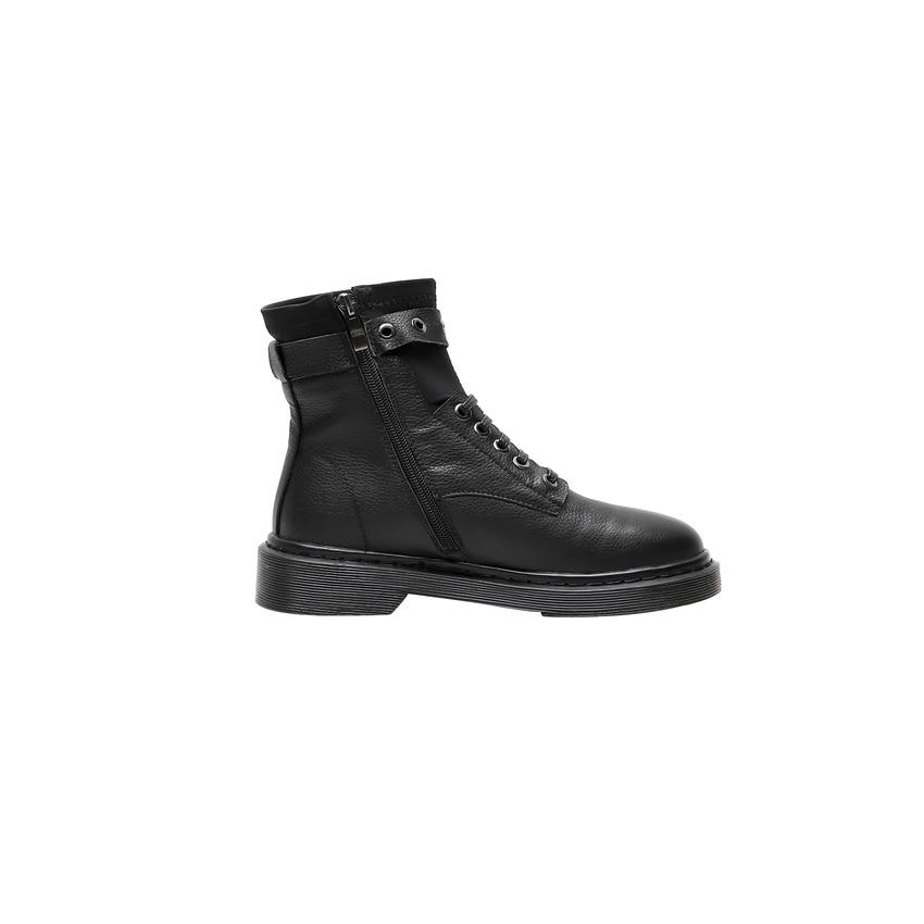 QUTAA 2020 รอบ Toe Buckle แพลตฟอร์มข้อเท้าลำลองรองเท้าบูทรองเท้าส้นสูงของแท้หนัง Lace Up Zipper แฟชั่นผู้หญิงรองเท้าขนาด 34 42-ใน รองเท้าบูทหุ้มข้อ จาก รองเท้า บน   2