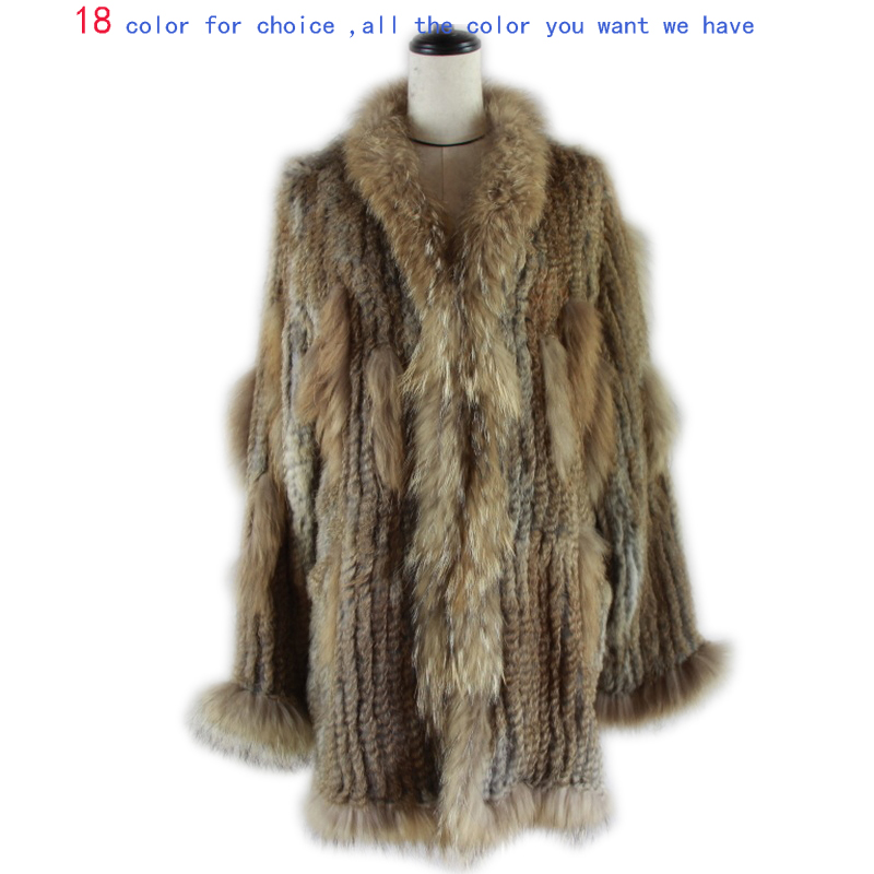 2019 Spain Russia USA Canada popular Women knitted real genuine real rabbit fur coat overcoat jackets