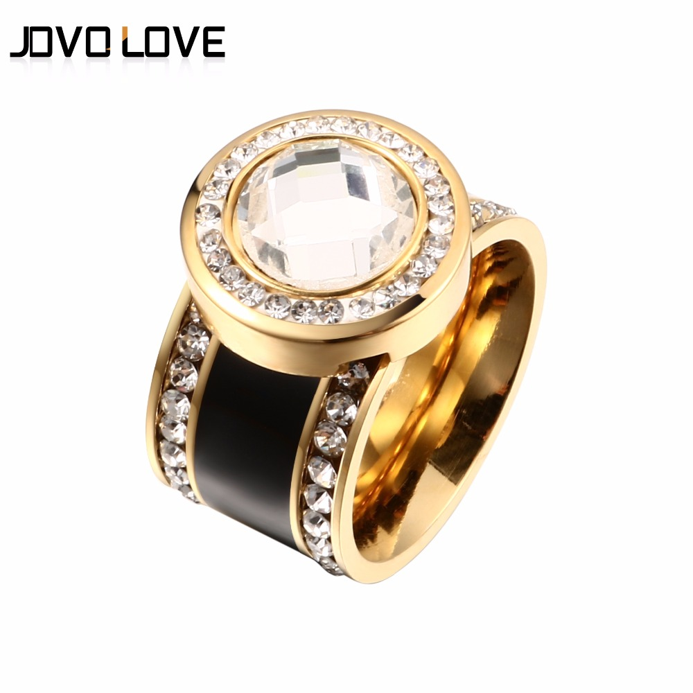 JOVO Fashion Female Women Crystal Rings Wedding Bands Black Color Stainless Steel Rings for Women Gold Color CZ Wedding Rings 6pcs of stylish color glazed round rings for women
