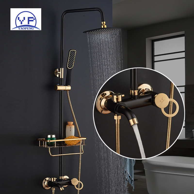 YAOPENG bathroom black shower faucets set bathtub big rainfall shower system head high pressure tub wall mounted shower faucets oil rubbed bronze white handle tub shower faucets with hanged shower head wall mounted bathroom bathtub shower faucets yn 420