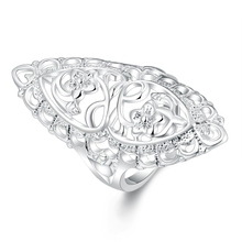 Elegant Creative Carved Flower Rings Men Silver Plated Fashion Jewelry Oval Shape Women Ring For Fingers Anillos Hombre Elegante