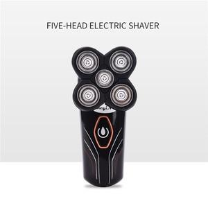 Image 4 - Моющийся электробритва 2 в 1 с 5 лезвиями для мужчин, перезаряжаемая бритва, триммер для бритья, машинка для стрижки бороды