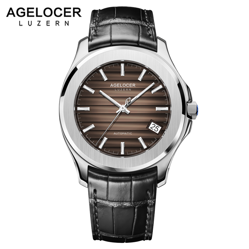 AGELOCER Date Men Watch Swiss Famous Top Luxury Brand Waterproof Luminous Business Male Clock Leather Wrist Mens Watches Gift цена и фото