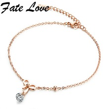 Fate Love Romantic Charm Rose Gold Color Stainless Steel Bowknot Anklets Foot Jewelry For Women Lady Best Birthday Gift FL024