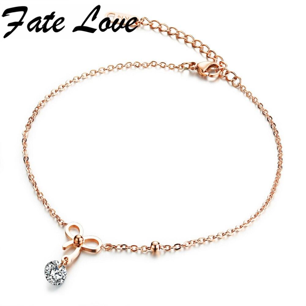 fa5f9899a06 Fate love charme romântico subiu tornozeleiras pé jóias para as mulheres de  aço inoxidável da cor do ouro bowknot senhora melhor presente de  aniversário ...