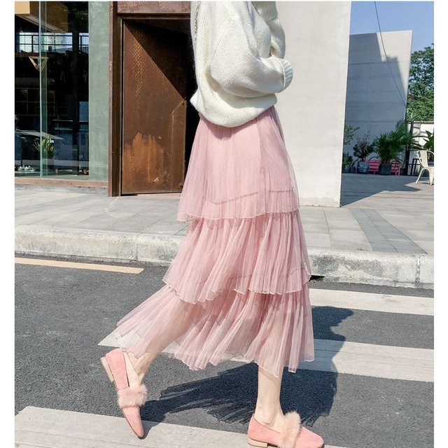 36c4b85bd2 Spring Tulle Skirts Women 2019 Summer Long Maxi Skirt Female Elastic High  Waist A-line