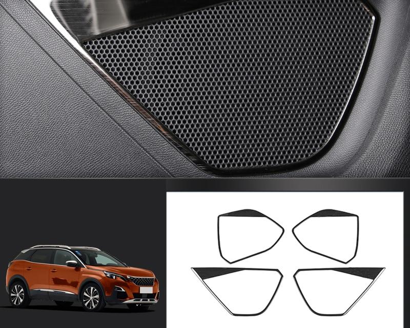 Stainless Steel Interior Door Speaker Cover Trim 4PCS For Peugeot 3008 GT 5008 GT 2017 2018 for peugeot 3008 5008 2017 2pcs set rear exhaust muffler pipe cover trim decoration