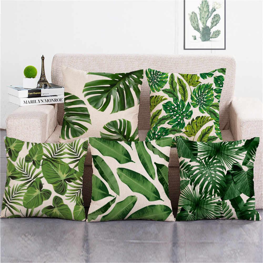 Декоративный чехол для подушки с тропическим зеленым растением, листьями пальм, листьями, хлопковым и льняным рисунком, декоративный чехол для подушки, funda cojines