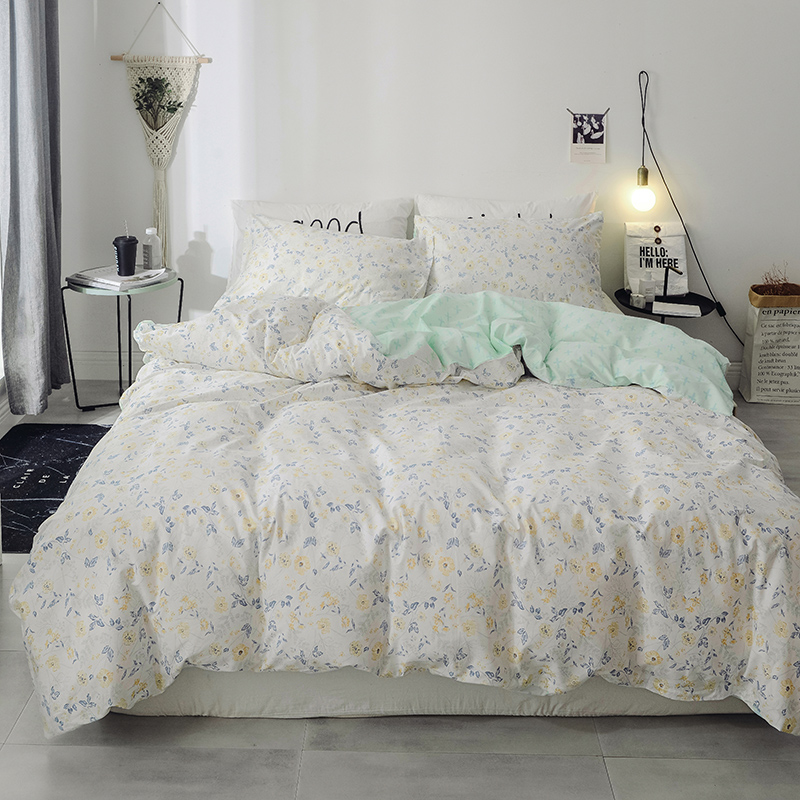 Fashion Light Blue Small Print Cotton Fabric Soft Bedding Set For Adults 3/4Pcs Queen Size Duvet Cover Bed Sheet Set PillowcasesFashion Light Blue Small Print Cotton Fabric Soft Bedding Set For Adults 3/4Pcs Queen Size Duvet Cover Bed Sheet Set Pillowcases