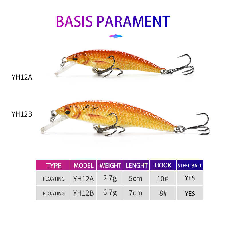 Original Oddfisher YH12 Minnow Wobblers Fishing Lures Crankbait Hard Artificial Baits Slow Sinking Lure For Bass Pike Lake River