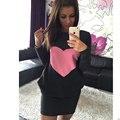 2016 Apparel Brand New Autumn Winter Fashion O-Neck Dress Splice Pocket Casual Women Dresses 3 Color