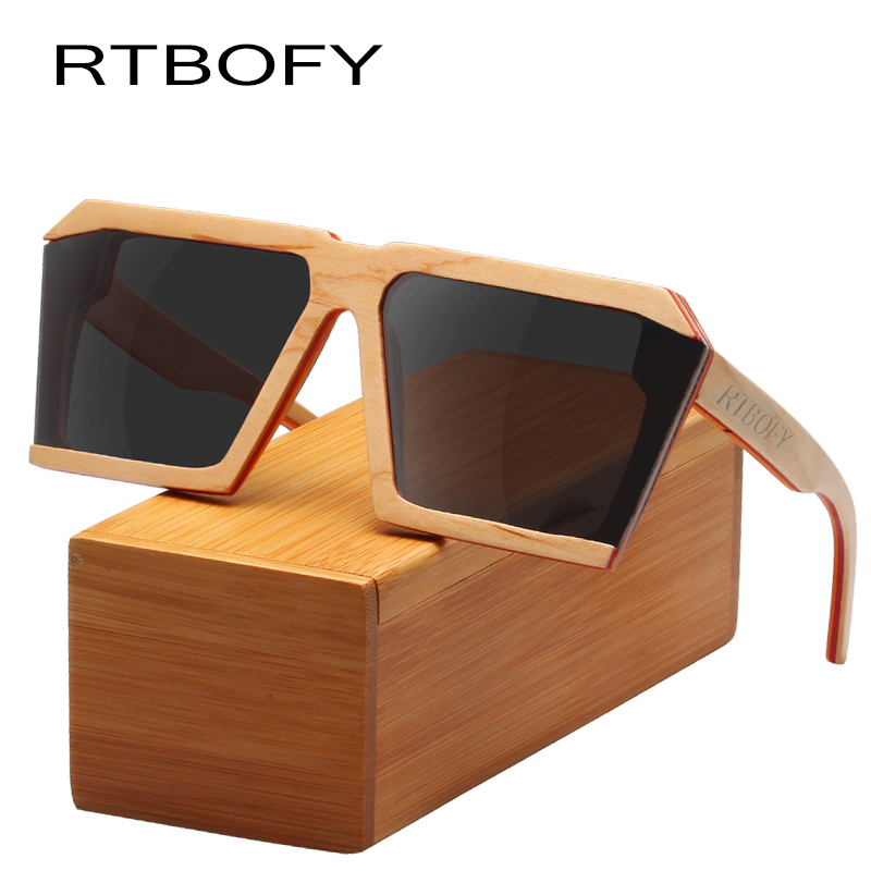 RTBOFY Wood Sunglasses for Men and Women Skateboard Wood Frame Shades Cat Eyes Shape Glasses rtbofy wood sunglasses for men and women skateboard wood frame shades oval shape glasses
