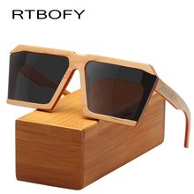 RTBOFY Wood Sunglasses for Men and Women Skateboard Wood Frame Shades Cat Eyes Shape Glasses