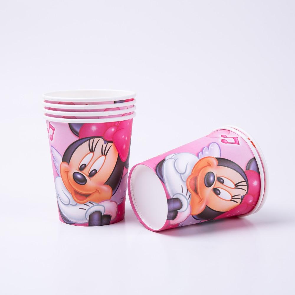 6pcs Cartoon Minnie Party Supplies cups Birthday Decoration Mariage Baby Shower happy Supplier Wedding Christmas