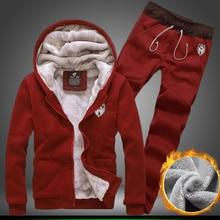 Winter Trainingsanzug Männer Thermische Samt Sweatshirt Winter Warme Hoodie Marke Männer Casual Sweatpant Mode Set Mit Kapuze Dicke Jacke