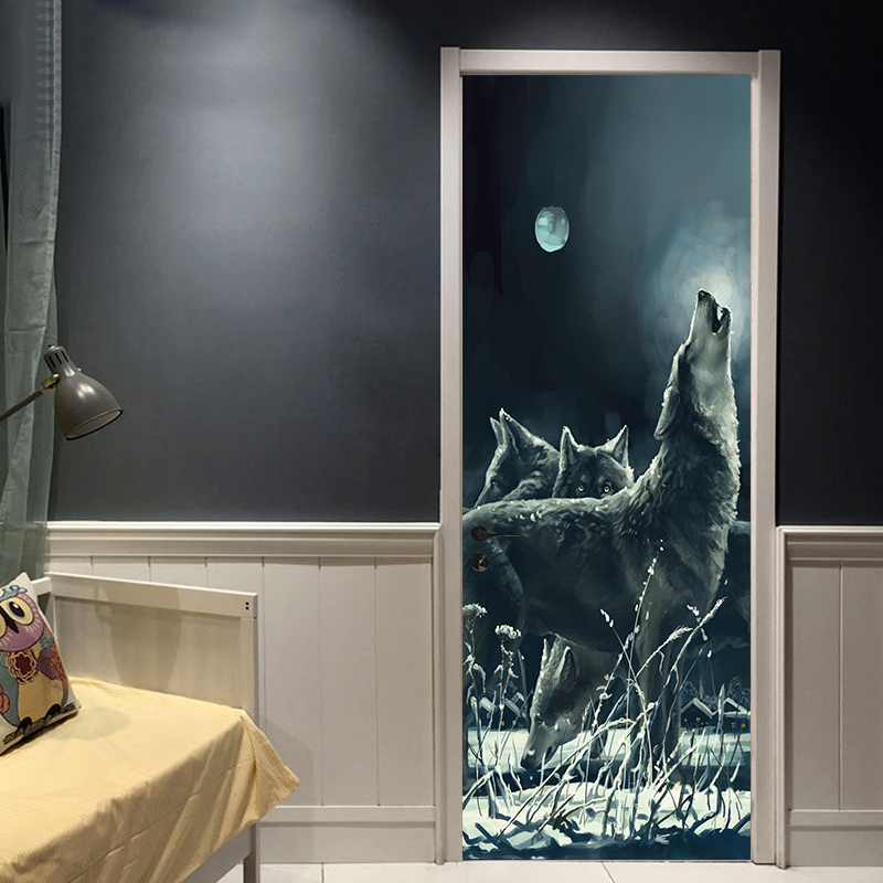 77x200cm Creative Animal Moon Night Wolf Door Stickers Painting Wallpaper Poster Wall Sticker Bedroom Living Room Home Decor