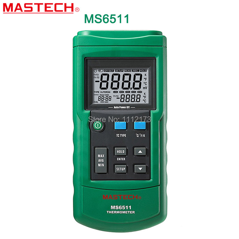 ФОТО Free shipping MASTECH MS6511 Digital Thermometer Single Channel K, J, T, E Thermocouple Type Temperature Meter Tester With Box