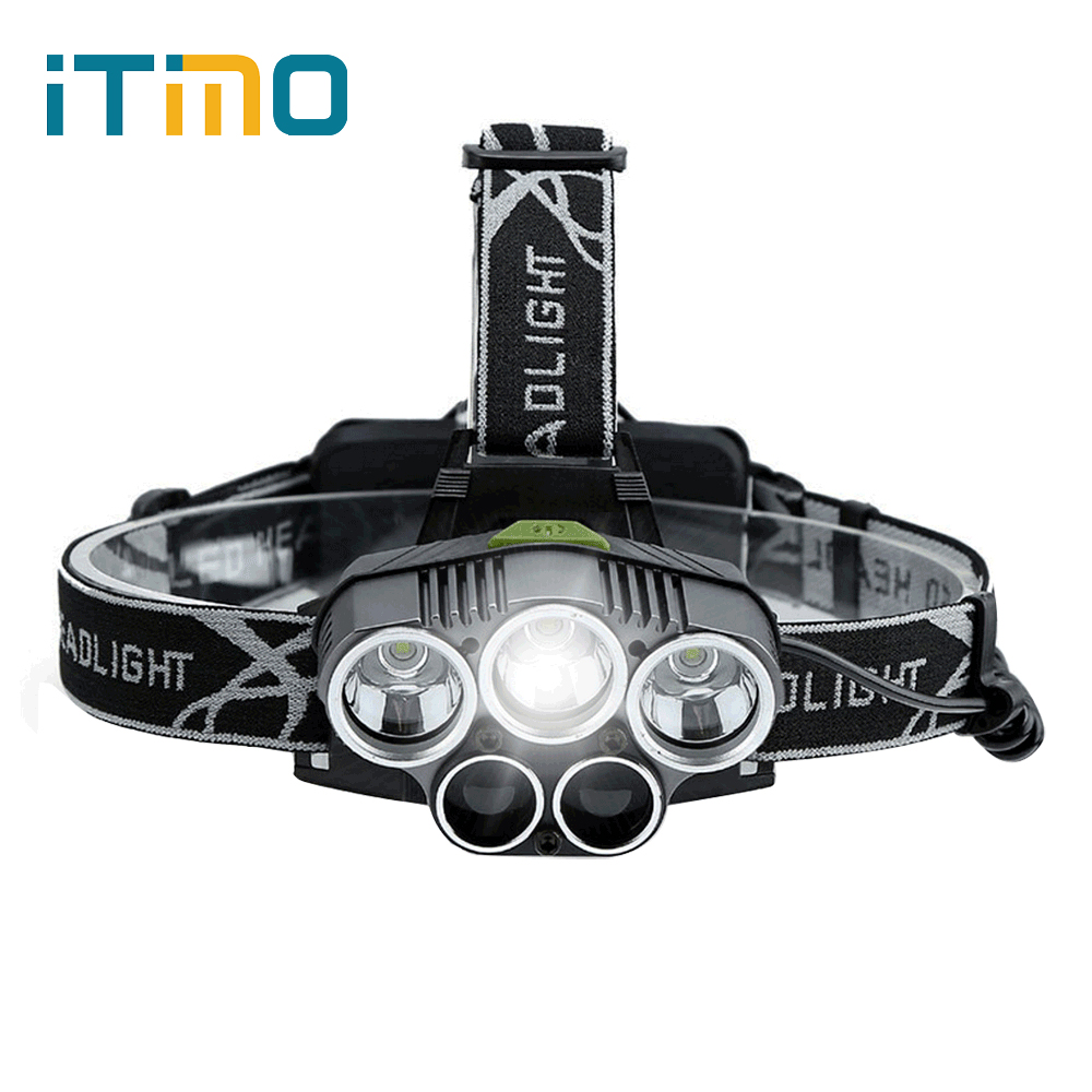 iTimo Waterproof LED Headlamps Aluminum Alloy 6 Modes Spotlight Emergency Light For Outdoor Activities Lithium Portable Lighting