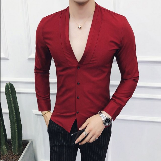V-Neck Stil Kleid Hemd Männlichen 2019 Herbst Mode Shirt Männer Schwarz Weiß Rot Feste Langarm Beiläufige Dünne fit Männer Shirts
