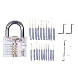 24pcs Acrylic Transparent Practice Locks Stainless Steel Visible Combinated Lock for Locksmith Traning Tools