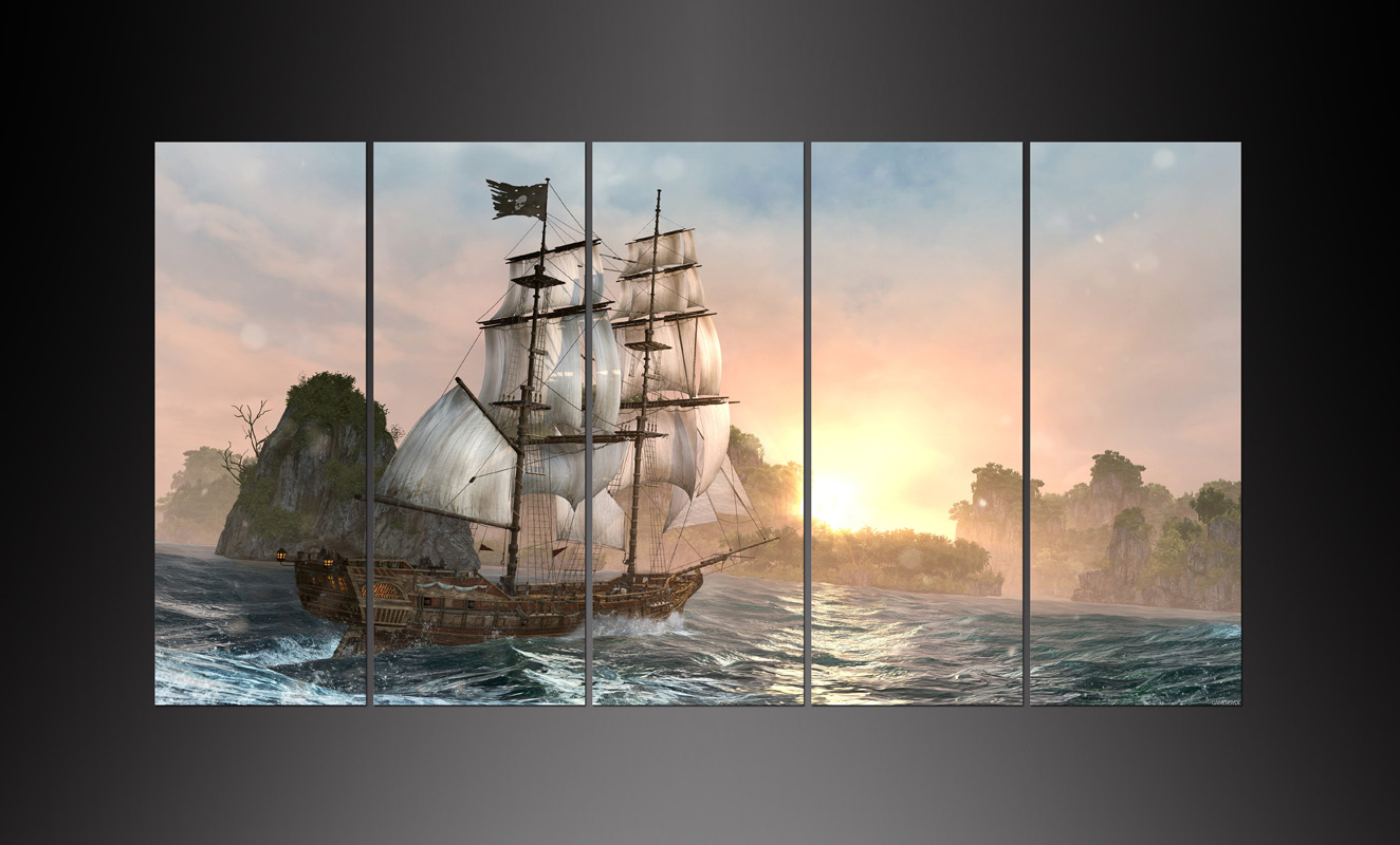 5 Pieces Canvas Poster Print Video Game Ship Sea Moutains