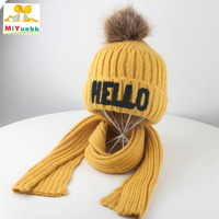Hot Hello 2 10 years old child Winter outdoor boys girls wool Solid color cap Two piece hat scarf Outdoor warm ear protection