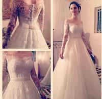 Robe de mariage настоящая новинка вырез лодочкой с длинным рукавом платье трапециевидной формы с длинным украшения в виде поезда длинное свадебно