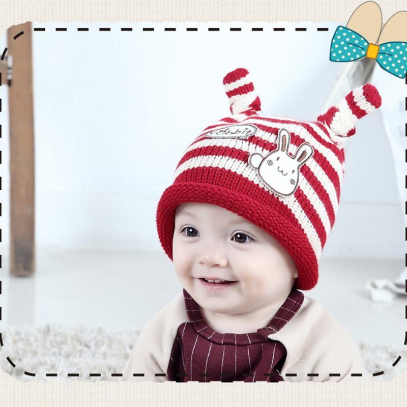 2017 Winter Fashion Baby Hat Cute Rabbit Baby Knitted Cap Beanie Cartoon Infant Kids Boys Girls Warm Hats Newborn Photo Props
